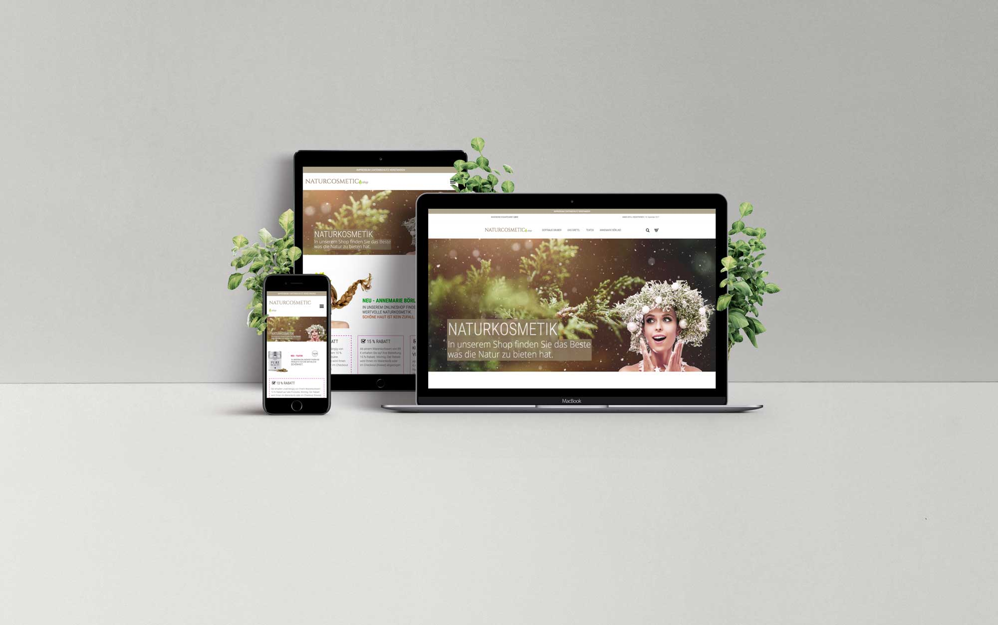 Naturkosmetik Onlineshop - Webdesign München Referenz multi devices