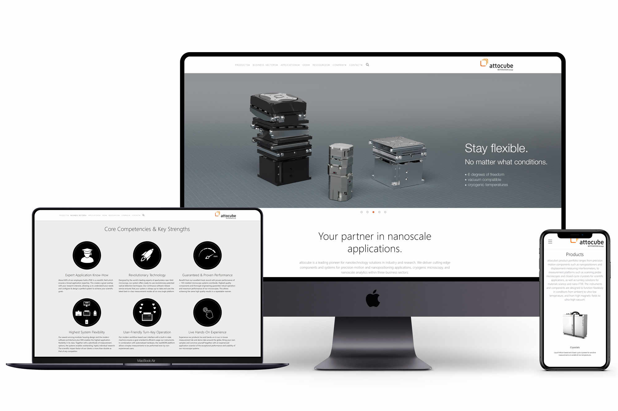 Unternehmenswebseite, Referenz, attocube systems AG, Mockups, multidevice